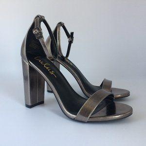 Lulus Taylor Pewter Ankle Strap Heels 6.5 NWOB